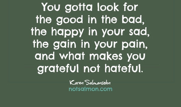 you gotta look for the good in the bad