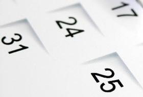 data op kalenderblad o.a 25ste