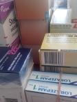 Afbeelding van mijn medicatie voor drie maanden. In totaal 24 doosjes!!