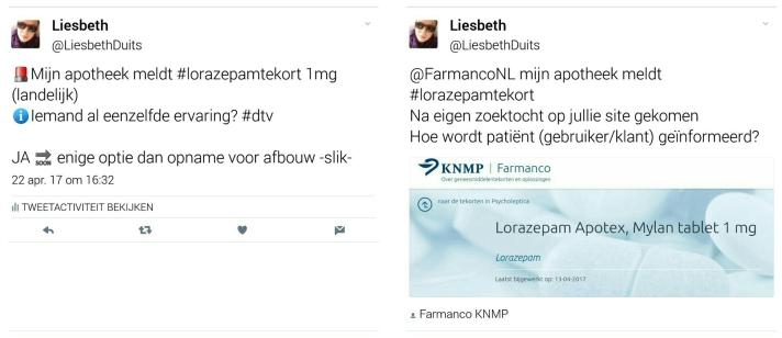 screenshot tweets 22 april @LiesbethDuits