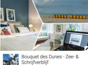 Een collage met informatie over Bouquet des Dunes Zee en Schrijfverblijf