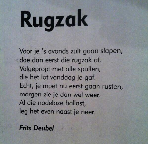 Gedicht Rugzak van Frits Deubel