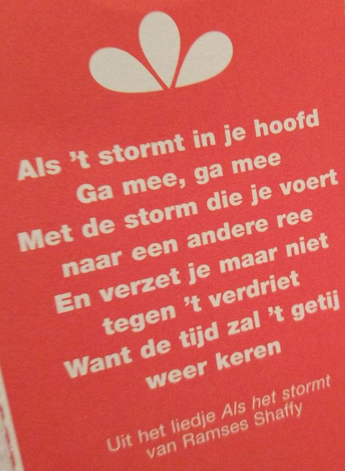 Week van de poezie. Kalender 23 januari 2018 met een tekst van Ramses Shaffy uit het lied Als het Stormt. Als het stormt in je hoofd. Ga mee, ga mee. Met de storm die je voert naar een andere zee. En verzet je maar niet tegen 't verdriet. Want de tijd zal 't getij weer keren.